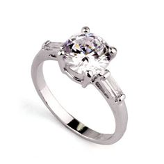 2.0CT Perfect Round Diamond Cut Russian Lab Diamond 18K White Gold Baguette Accents Engagement Ring Size 5, 6, 7, 8, 9