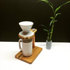 Bamboo pour over coffee stand by 3CordCreations on Etsy