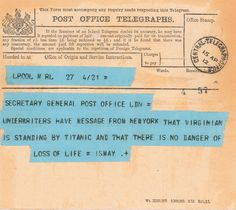 The First Telegram About Titanic's Sinking
