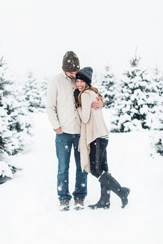 Winter couple photos snowy and cozy