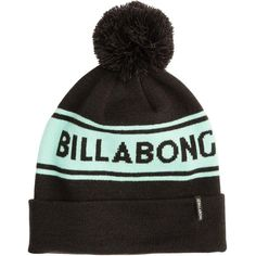 Billabong Women's Cali Love Beanie ($25) ❤ liked on Polyvore featuring accessories, hats, off black, billabong hat, beanie hats, black beanie, pom beanie and striped hat