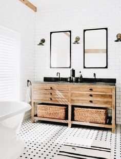 Vintage wood vanity in modern #bathroom love the side by side mirrors
