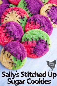 Whip up a batch of easy Halloween sugar cookies with a Tim Burton twist thanks to food coloring and chocolate stitches inspired by Sally's dress