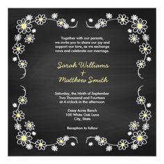Rustic Chalkboard Daisy Wedding Invitations