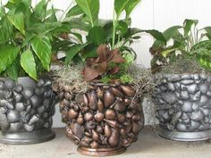 Why don t you try with beach pottery as well?  DIY Seashell Planter