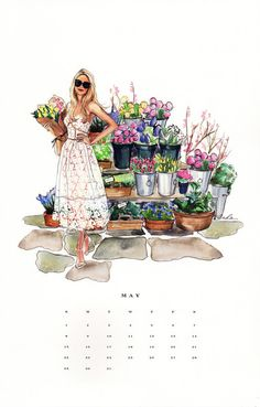 """May Classic Art Calendar Fashion Sketches, Art Sketches, Art Drawings, Fashion Illustrations, Art Calendar, Calendar Girls, 2016 Calendar, Glamour Moda, Jolie Photo"