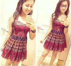 Stylish Dresses, Cute Dresses, Beautiful Dresses, Casual Dresses, Frock Fashion, Fashion Outfits, Aditi Bhatia, Indian Girls Images, Ikkat Dresses