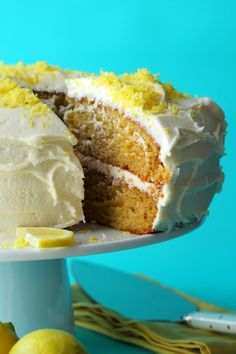 Ultra-lemony 2-layer vegan lemon cake with a velvety lemon buttercream frosting! This delicious vegan cake is perfectly moist and spongey and will make all your lemon cake dreams come true!