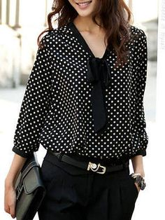 Plus Size Bowknot Collar Polka Dot Long Sleeves Loose Chiffon Blouse - New In Tops Cheap Blouses, Shirt Blouses, Blouses For Women, Cheap Womens Tops, Plus Size Blouses, Blouse Styles, Ladies Dress Design, Fashion Outfits, Fashion Blouses