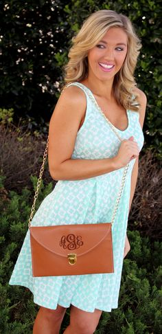 Monogrammed Luxe Cross Body Clutch from Marleylilly.com. Dress from Mondaydress.com! #fashion #ootd #monogram