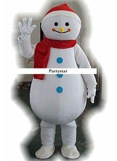 Sneeuwpop met sjaal mascotte kostuum