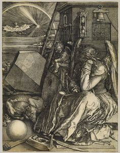 Melencolia I, 1514  Albrecht Dürer (German, 1471–1528)  Engraving    9 1/2 x 7 3/8 in. (24 x 18.5 cm)  Harris Brisbane Dick Fund, 1943 (43.106.1)