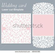 Vector Die Laser Cut Wedding Card Template Wedding Invitation