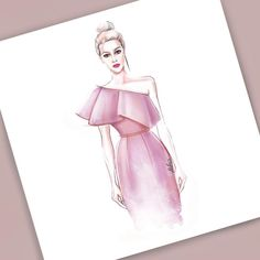 Fashion Illustration Speed Painting with Ink Design: Veronika Ahmatova Şahver Orhan Dress Design Drawing, Dress Design Sketches, Fashion Design Sketchbook, Fashion Design Drawings, Sketch Design, Dress Designs, Art Sketchbook, Drawing Sketches, Dress Illustration