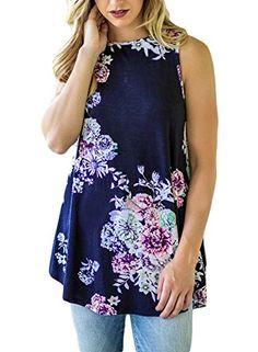 cf633e28daa Dokotoo Womens Ladies Summer Sexy Party Floral Print Loose T Shirts Tank  Tops Rose Large at