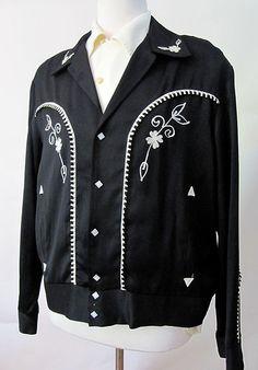 1950's Rocking gabardine western jacket with embroidery HBC XL