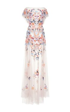 Medium zuhair murad multi multicolor embroidered tulle gown