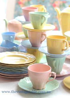 Vintage 1950s Harlequin Pastel Ware China Tea Sets, Cake Stands & Teapots