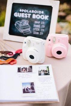 Polaroid wedding guest book / http://www.deerpearlflowers.com/creative-polaroid-wedding-ideas/