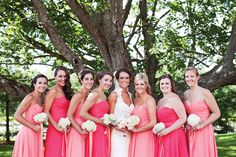 HOT HUES: Dress your ladies in different shades of your favorite color for some beautiful variety. Photo: Becca Wood Photography