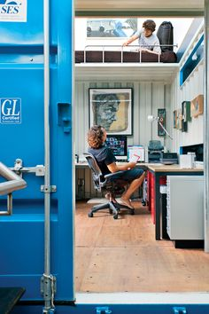 Pre-fab office in a shipping container. Complete w/ napping nook. A loft is obviously a prerequisite. Want.