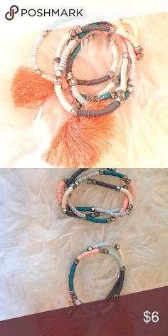 Bethany mota bracelets They are so trendy and colorful who could resist! They are stretchy so one size fits pretty much. They are studded and also two of them have cute puffs! Aeropostale Jewelry Bracelets