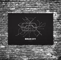 Berlin City C1 - Acrylic Glass Art Subway Maps (U-Bahn-Karte, Acrylglas, Plexiglas)