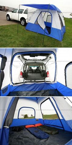 SUV Tent, I have one to use with my Tundra. I sleep in the bed of the truck, off the ground and dry when it rains. #carcampingsuvawesome