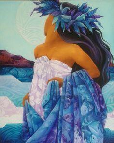 """""""Moorea lagoon"""" 81x65 Toile de Mov. Tahiti"""