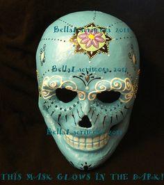Day of the Dead decor Mexican SUGAR SKULL art mask, CALAVERA, blue, glow in the dark