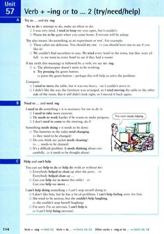 Unit 57 - Verb + -ing or To . 2 (try / need / help) English Day, English Units, English Study, English Class, English Lessons, English Grammar Tenses, Learn English Grammar, English Phrases, English Language