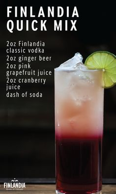 With its beautiful, unique contrasting colors, the Finlandia Quick Mix is the perfect cocktail to catch your friends' attention at your next celebration. This easy recipe is garnished with berries and filled with flavor. Click here to explore more delicious cocktails.