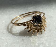 Sarah & Sebastian Large Pin Ring 9k Yellow Gold Black Diamond