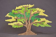 Beautiful Natural Shade Tree Puzzle Color Choice Toy  Hand Cut Wooden Puzzles, Jigsaw Puzzles, Wooden Projects, Wood Crafts, Shade Trees, Puzzle Toys, Waldorf Toys, Scroll Saw Patterns, Wooden Art
