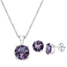 """6.75 Carat Amethyst Round Shape .925 Sterling Silver Earring & Pendant Set Silvancé. $49.90. with 18"""" Sterling Silver Chain. 100% Natural Gemstone. .925 Sterling Silver with Rhodium. Save 74% Off!"""