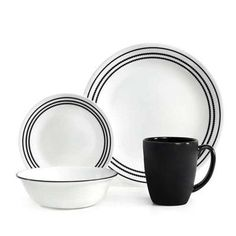 Corelle Livingware 16 Piece Dinnerware Set Service for 4 Color Onyx Black  sc 1 st  Pinterest & Makayla 16 Piece Dinner Set   Bowring   House ideas   Pinterest ...