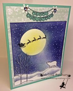 Porch Swing Creations: Christmas Eve Winter Sky Tutorial using White Christmas stamp set Homemade Christmas Cards, Stampin Up Christmas, Christmas Cards To Make, Christmas Settings, Xmas Cards, Holiday Cards, White Christmas, Christmas Holidays, Nouvel An