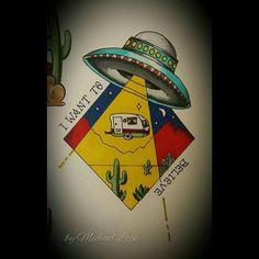 """I want to believe. #ufo #ufosighting #ufos #ufotattoo #vintagecaravan #caravaning #roadtrippin #roadtrip #abduction #desert #desertscene #aliens…"""