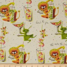 Michael Miller Here's To You Cream from @fabricdotcom  Designed by Michael Miller, this cotton print fabric is perfect for quilting, apparel and home decor accents. Colors include light orange, yellow, green and pink on a cream background.