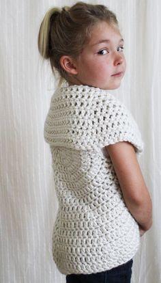 Crochet Pattern: The Julia Sweater Toddler Child Adult image 2 Crochet Girls, Crochet For Kids, Free Crochet, Knit Crochet, Crochet Jacket, Crochet Cardigan, Crochet Toddler Sweater, Crochet Stitches, Crochet Patterns