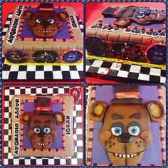 A chocolate Five Nights at Freddy's cake #fnaf