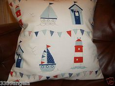 """16"""" new cushion cover boys boat #lighthouse #bunting beach hut seaside #nautical,  View more on the LINK: http://www.zeppy.io/product/gb/2/261061195888/"""