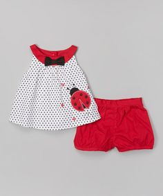 Look at this Donita White & Red Ladybug Yoke Dress & Bloomers - Infant by Donita Frocks For Girls, Kids Frocks, Toddler Fashion, Kids Fashion, Style Fashion, Fashion Tips, Little Girl Dresses, Girls Dresses, Baby Dress Design