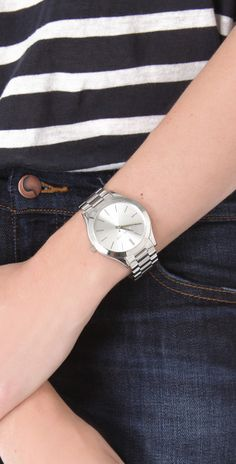 d577030e6884 Michael Kors Silver Slim Runway Watch - Silver in Silver