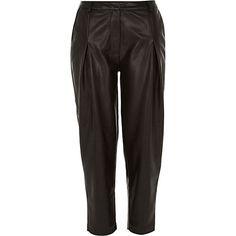 Black leather-look peg leg trousers £40 #riverisland