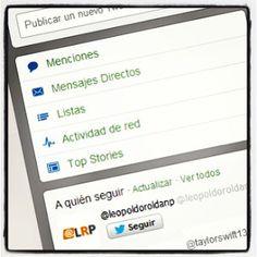 Pues que no para Twitter de incluir cambios en su plataforma... y este, aunque se trate de mínimos retoques, ha sido -al menos para mi- por sorpresa. Ahora en la sección de 'Inicio' podemos encontrar acceso directo a nuestras 'Menciones' o los 'Mensajes Directos', también a las 'Listas' que tenemos o estamos suscritos y la 'Actividad de Red' o las 'Top Stories'.  25/06/2013 por @@LeopoldoRoldanP