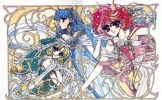 """Art from """"Magic Knight Rayearth"""" series by manga artist group CLAMP. Pretty Hurts, Manga Artist, Comic Artist, Manga Anime, Magic Knight Rayearth, Anime Cosplay Costumes, Animation, Magical Girl, Asian Art"""