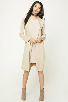 A lightweight woven trench coat featuring a notched collar, removable self-tie belt at the waist, two slanted front pockets, and long sleeves.