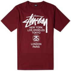 Stussy World Tour Tee ($58) ❤ liked on Polyvore featuring mens, men's clothing, men's shirts and men's t-shirts