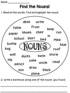 Nouns Worksheets by Dana's Wonderland Nouns And Verbs Worksheets, Worksheets For Grade 3, English Worksheets For Kids, English Lessons For Kids, Phonics Worksheets, School Worksheets, Hindi Worksheets, Lkg Worksheets, Nursery Worksheets